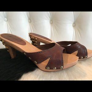 Mui Mui studded leather clog/sandals